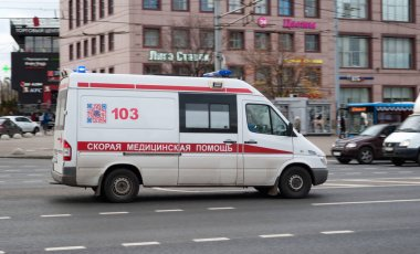 October 2017, Moscow, Russia. Ambulance in traffic