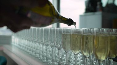 Champagne is poured into wine glasses. glasses of champagne