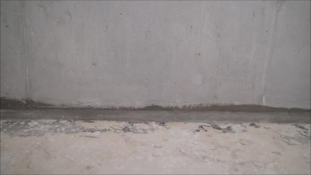Stavební služby pro čištění pouzdra pomocí kotevního šroubu. Odstranění prachu vysavačem. Dělník vysává betonovou podlahu.