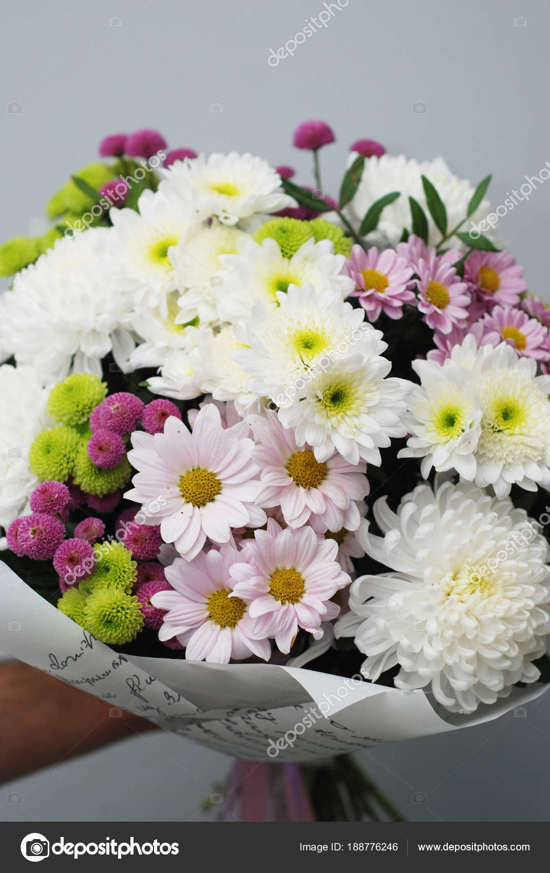 Beautiful Bouquet Of Autumn Flowers Isolated On White Crisanthemum