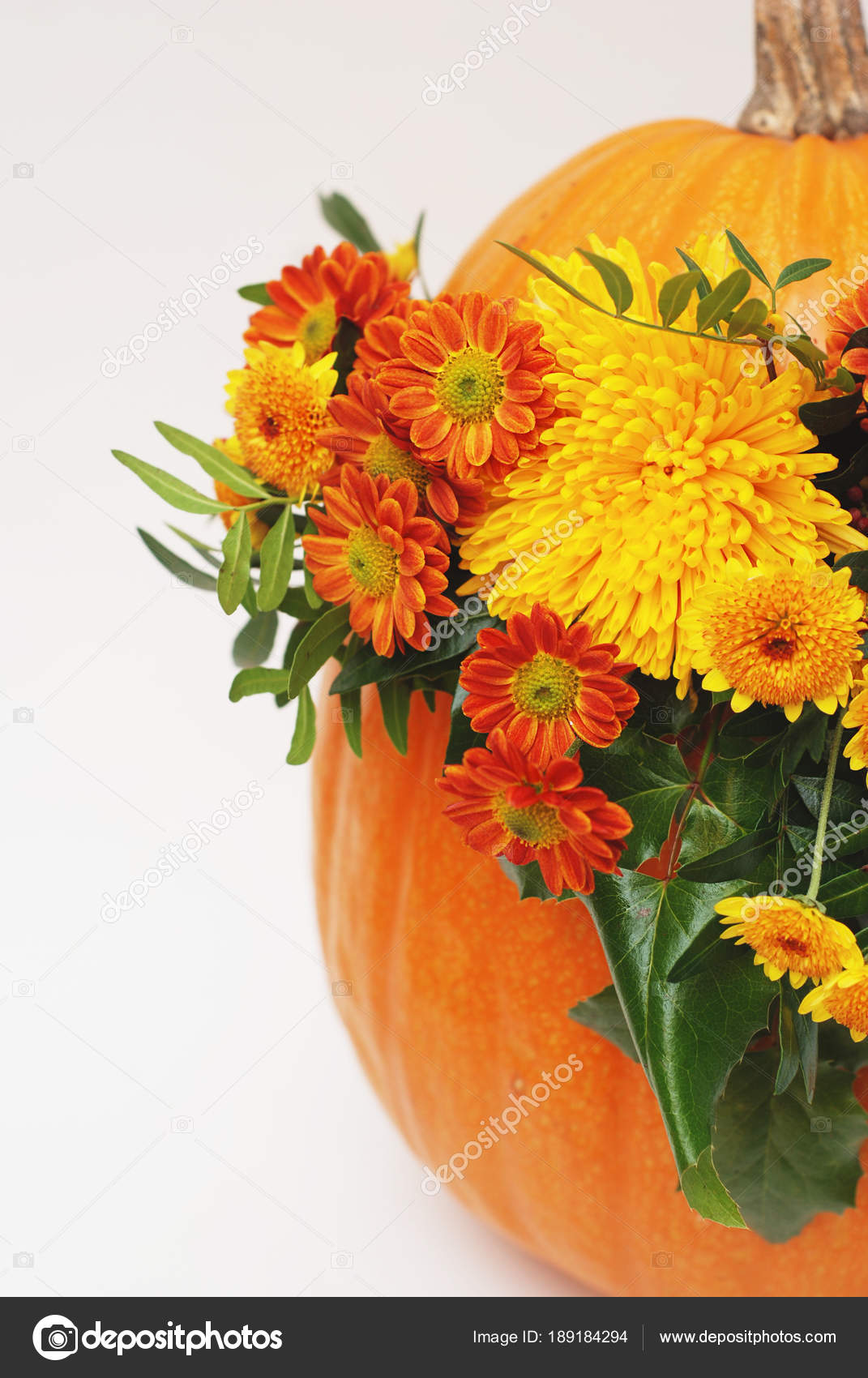 Arreglo Floral De Otoño O Acción De Gracias En La Calabaza