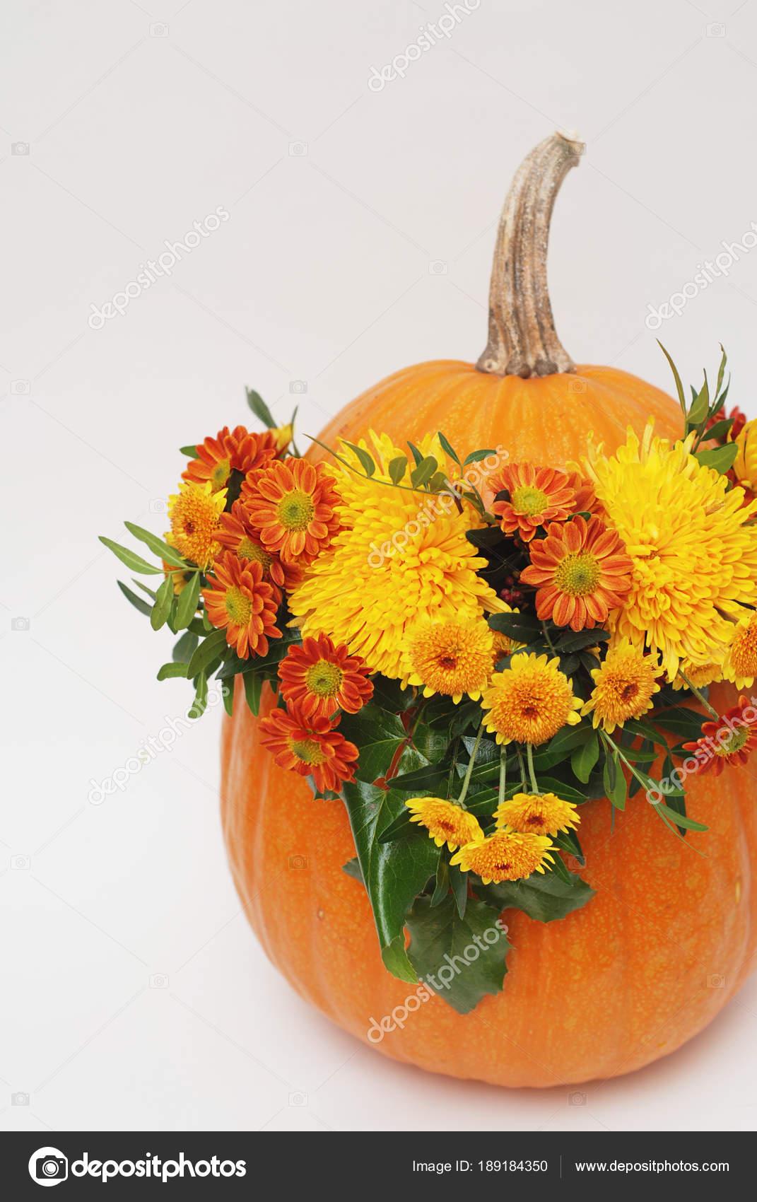 Naranja Calabaza Arreglo Floral De Halloween O El Otoño