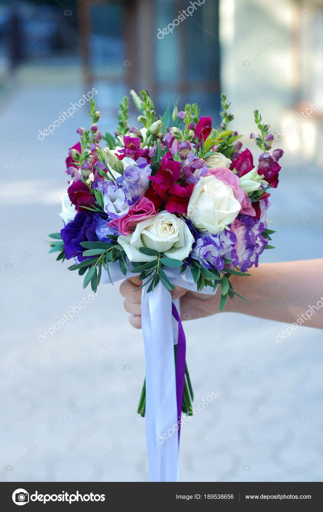 Bridal Bouquet with Purple, Violet and Burgundy Colors. Fresh Summer ...