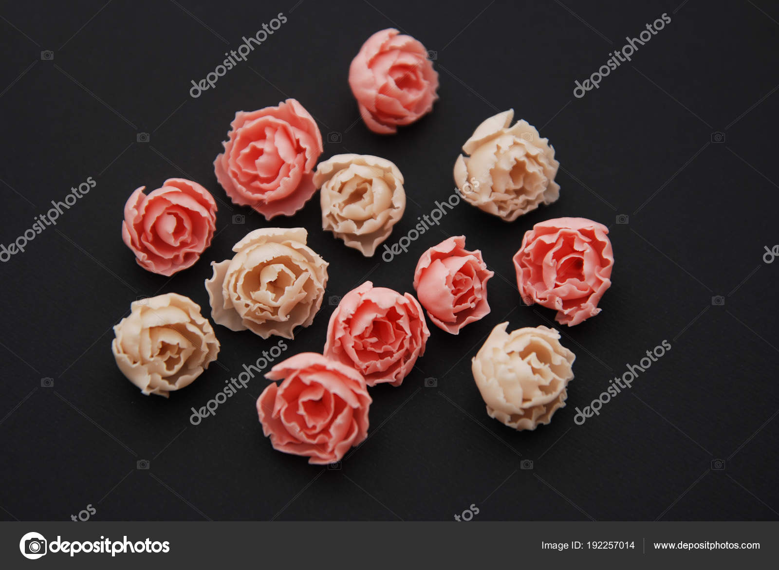 Pink Fake Rosess Black Background Lot Of Artificial Pink Peach