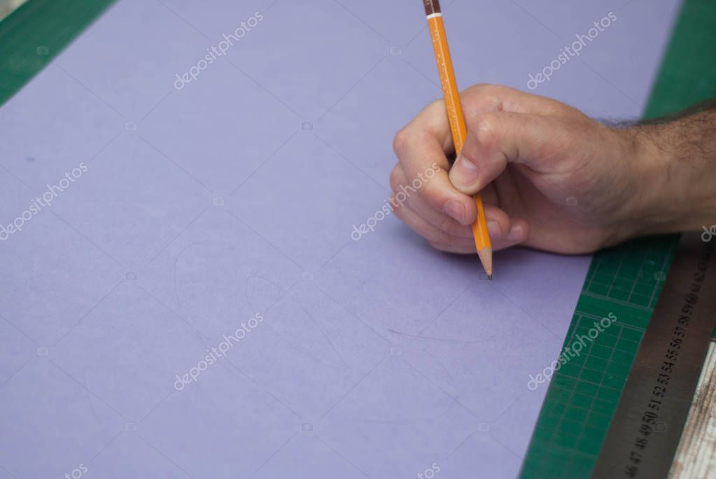 Human Men's Hand Holding a simple Pencil over Purple Paper. Illustration of Man's Hand, Pen, infographic, element for web, presentation, brochures.
