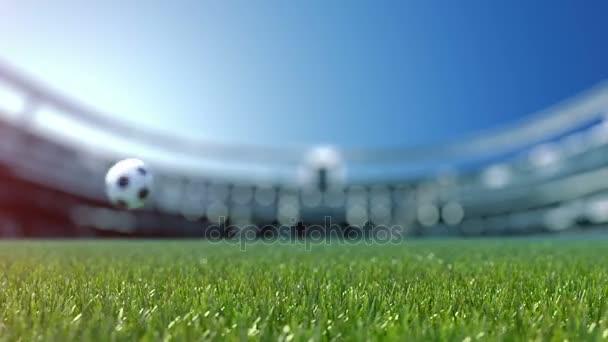 fotbalový míč movint do centra z pohledu kamery.