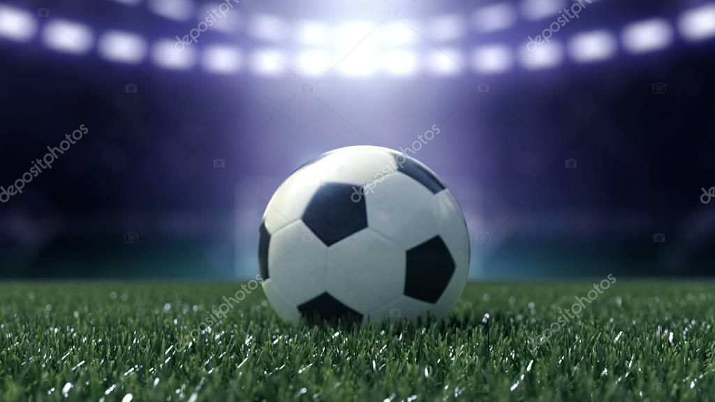 Voetbalstadion in verlichting met voetbal. 3D-rendering — Stockfoto ...