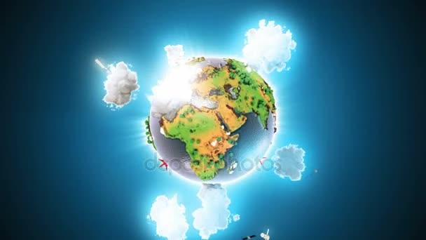 Reális a föld forog a kék hurok. Globe középre keretben, a megfelelő forgása varrat nélküli hurok.