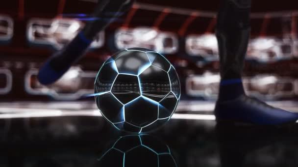 Fotbalový míč plovoucí v prostoru k cíli s neon zastřelil efekt