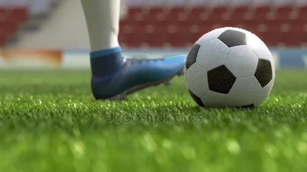 részlet futball játékos rúgja a labdát, a mező a 3D-s illusztráció