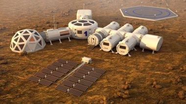 The colony on Mars. Autonomous life on Mars. 3D rendering