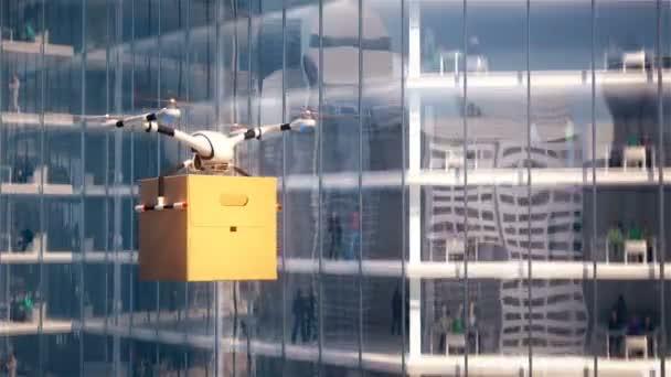 DRONY dodání létání nést balení papíru na pozadí města