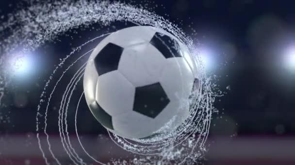 Futball-labda repül kibocsátó örvény vízcseppek, 4 k, 3d animáció