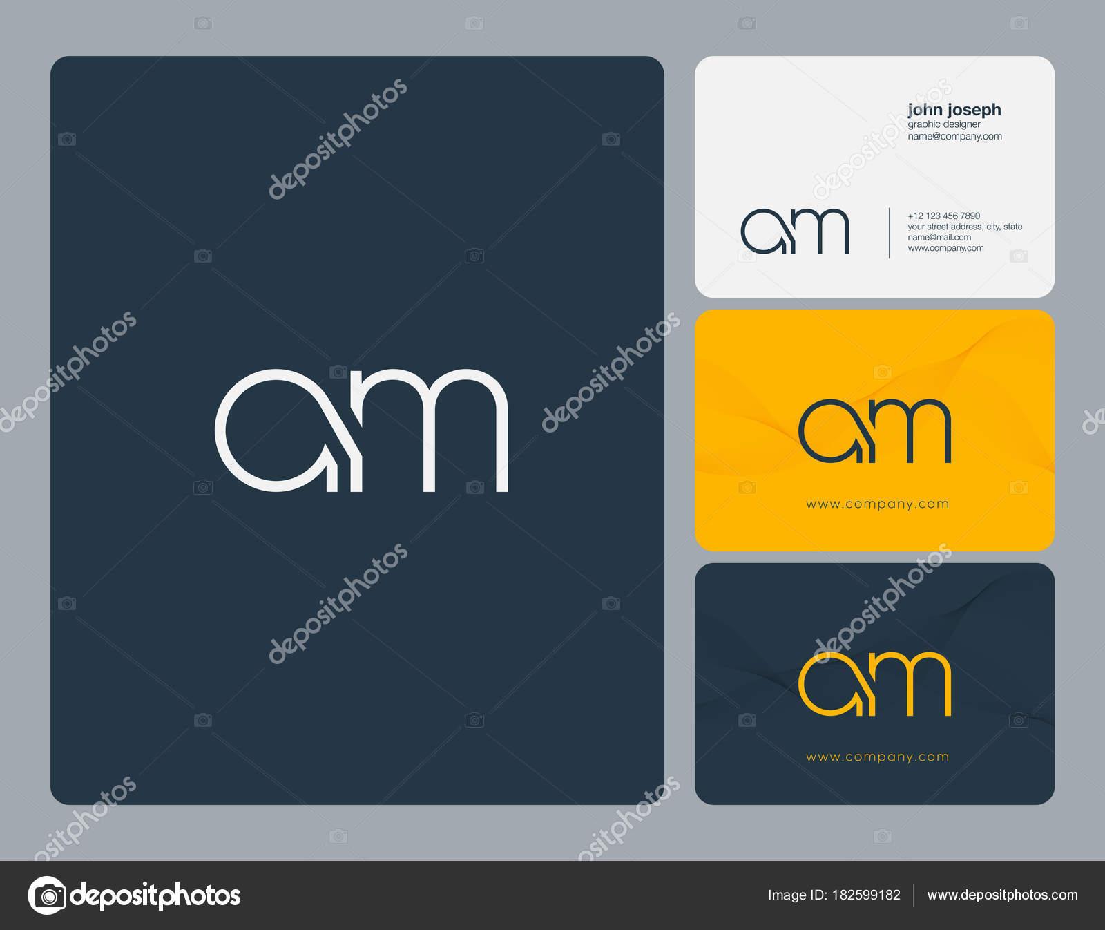 Lettres A M Icone Logo Commun Avec Modele De Vecteur Carte Visite Illustration Stock