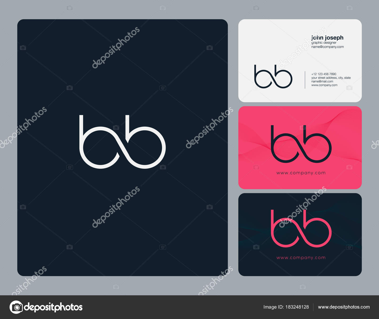 Letters joint logo icon business card vector template stock bb letters joint logo icon with business card vector template vector by ajayandzyngmail reheart Gallery