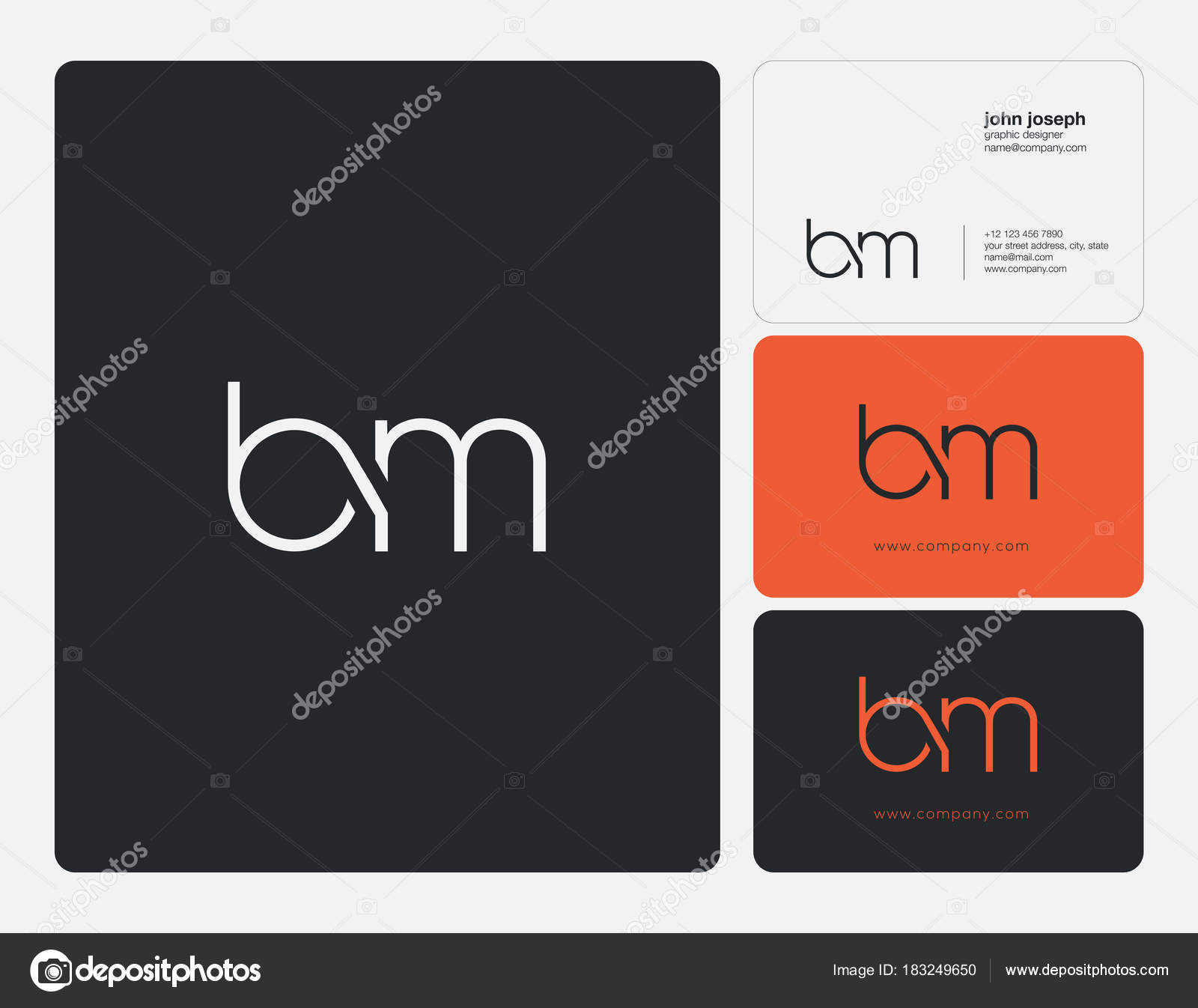 Letters joint logo icon business card vector template stock vector bm letters joint logo icon with business card vector template vector by ajayandzyngmail colourmoves Images