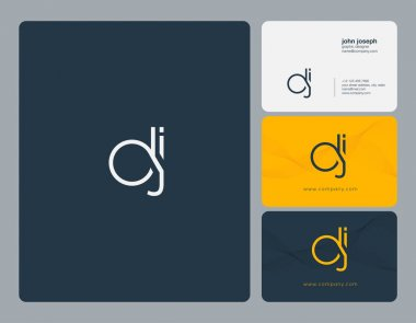 Joint Dj Letters Logo, Business Card Template, Vector
