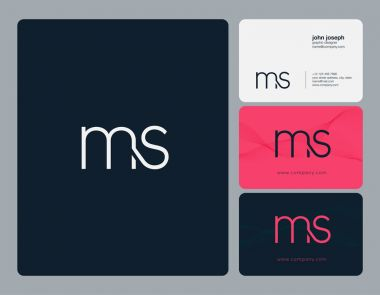 ms  Letters Logo, Business Cards Template, Vector