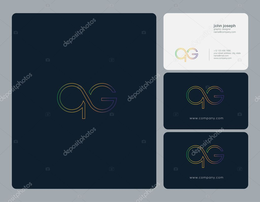 qg Letters Logo, Business Cards Template, Vector