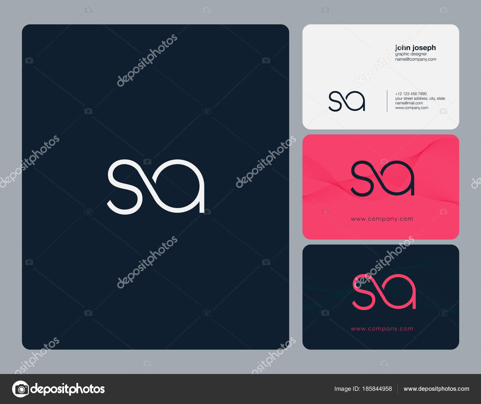 Joint Letters Logo Business Card Template Vector Stock Vector