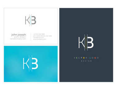 Joint Kb Letters Logo, Business Card Template, Vector