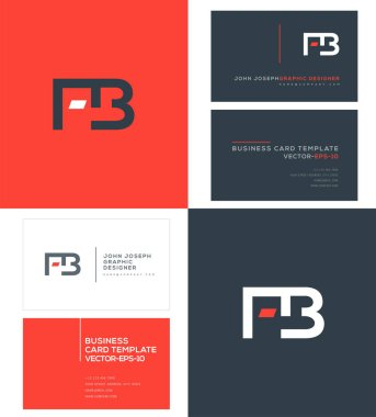 FB Letters Logo, Business Cards Template, Vector