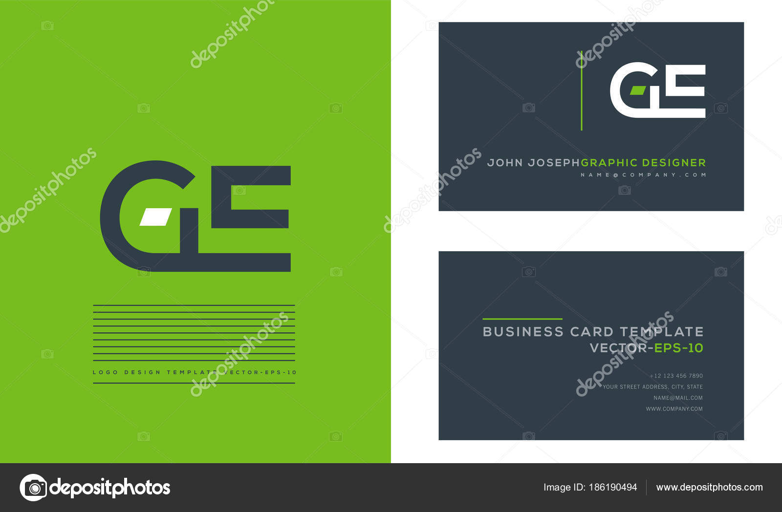 letters logo business cards template vector stock vector