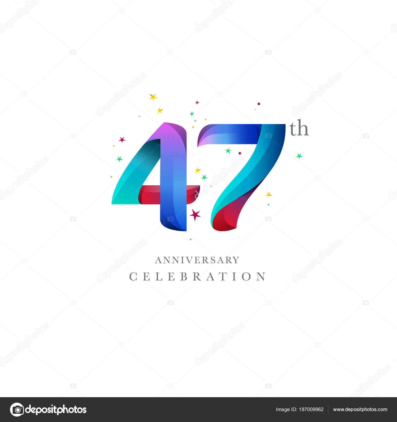 47th anniversary logo design number icon vector template stock