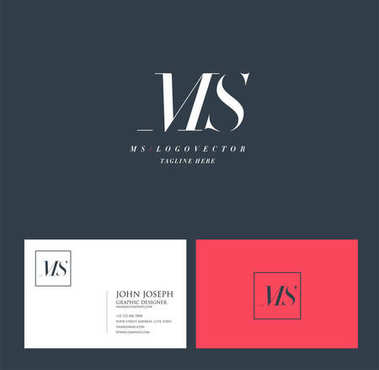 Joint Ms Letters Logo, Business Card Template, Vector