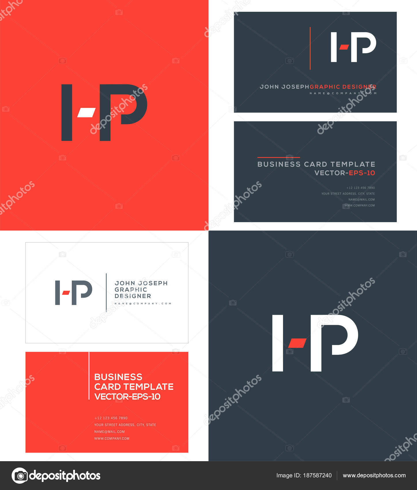 Joint Letters Logo Business Card Template Vector Stock Vector - Hp business card template