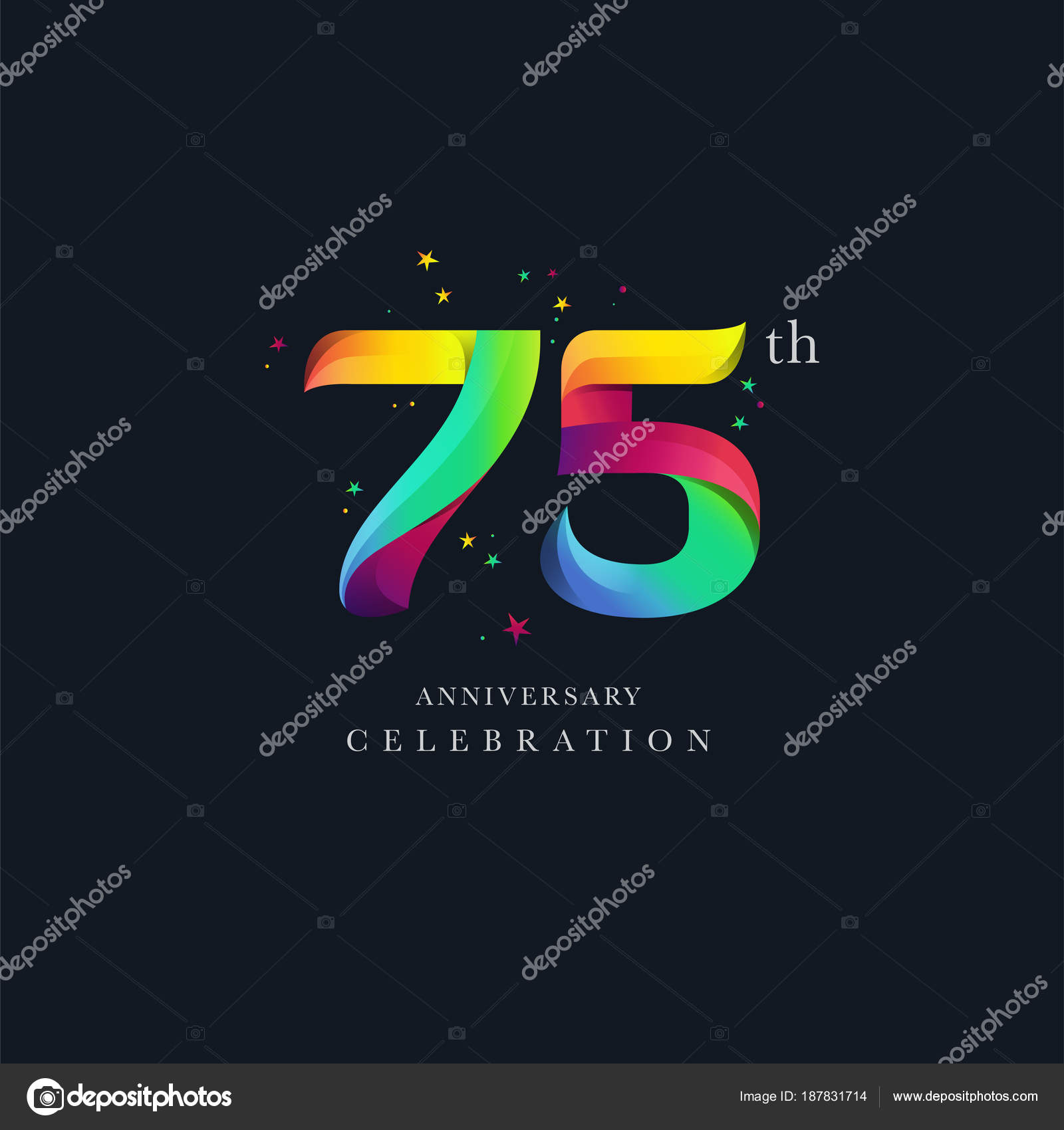 75th Anniversary Logo Design Number Icon Vector Template Stock