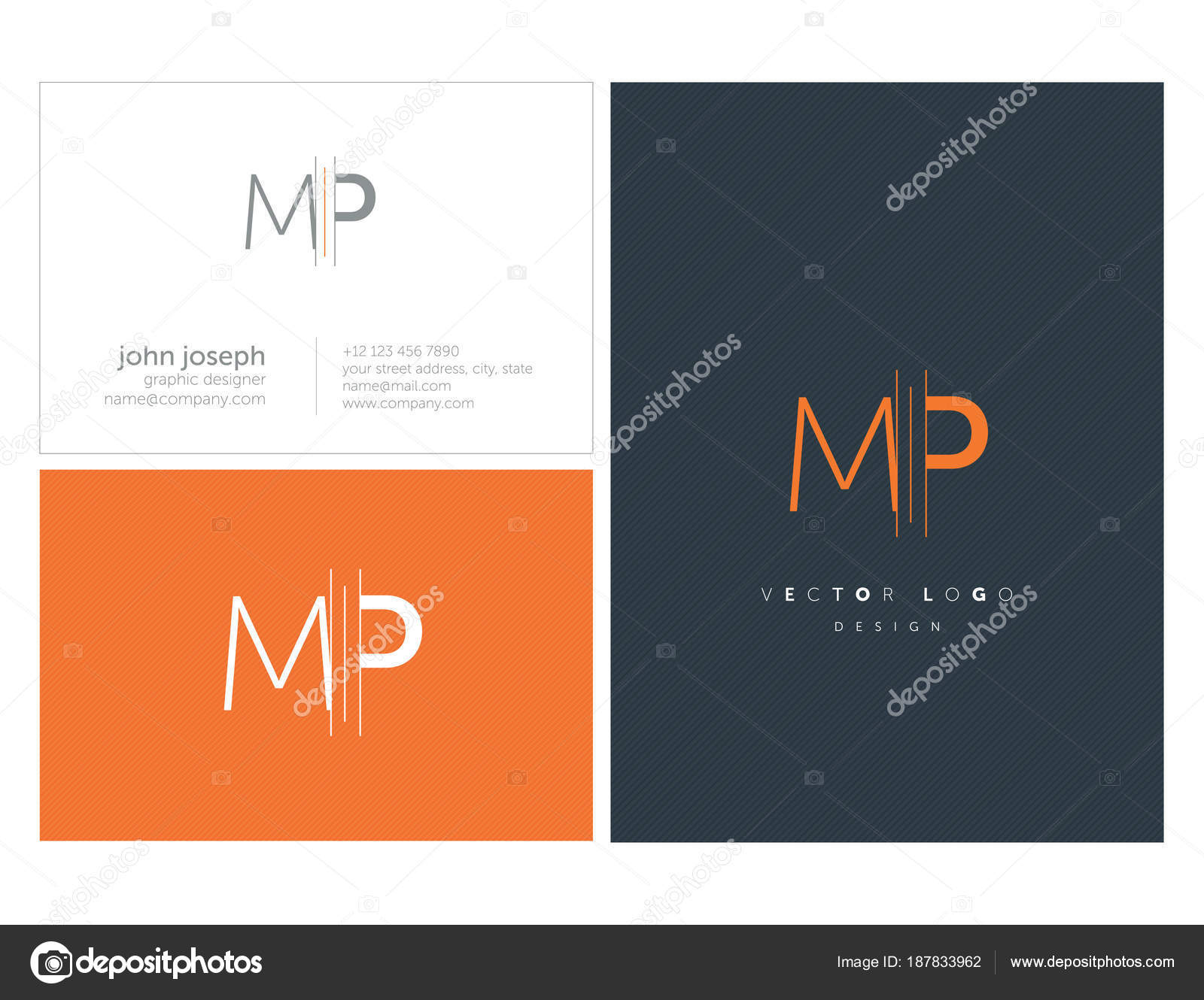Joint Letters Logo Business Card Template Vector — Stock Vector ...
