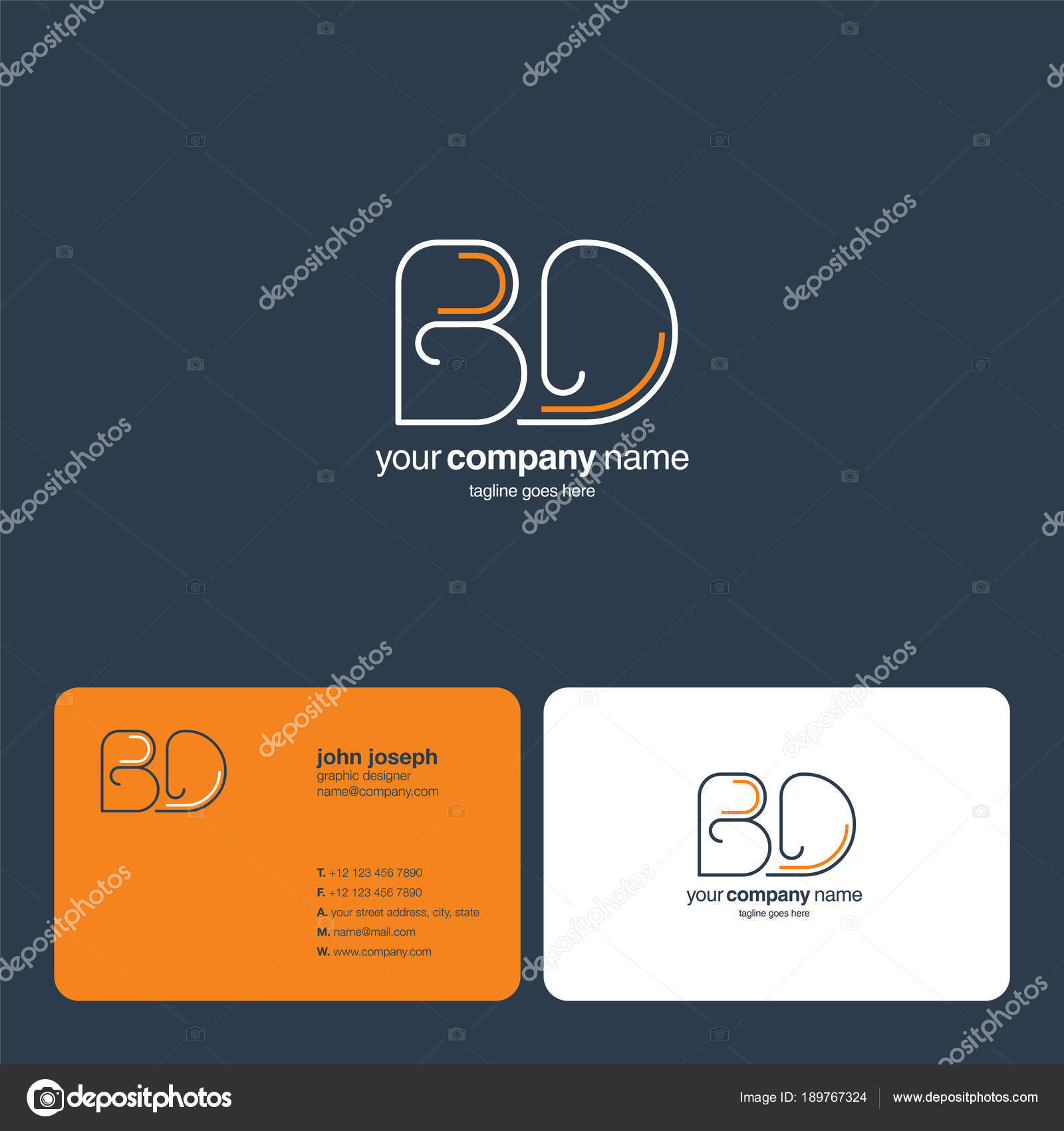 Logo Commun Bd Pour Le Modele De Carte Visite Vecteur Illustration Stock