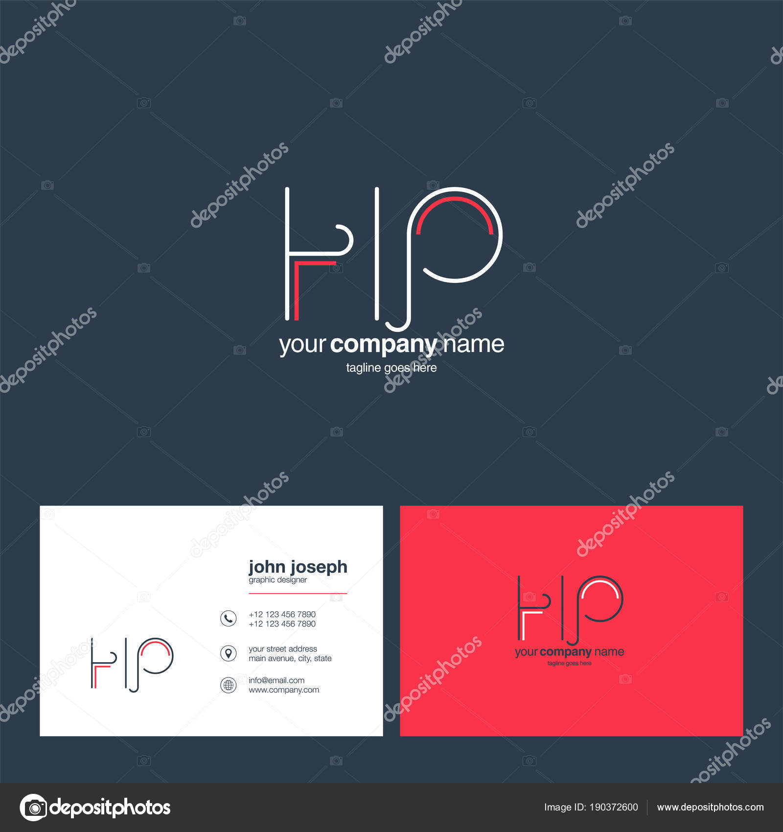 Logo Joint Business Card Template Vector Stock Vector Ajayandzyn - Hp business card template