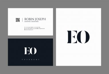 Joint EO Letters Logo, Business Card Template, Vector
