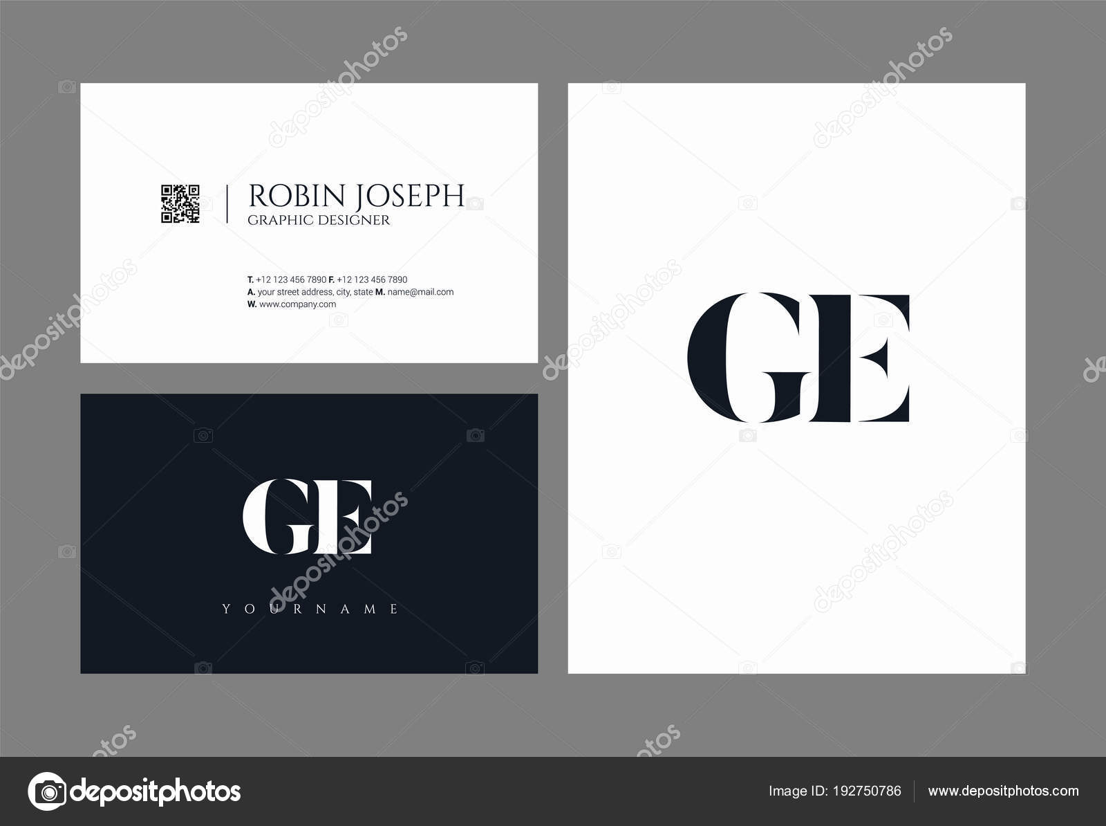 Joint Letters Logo Business Card Template Vector Stock