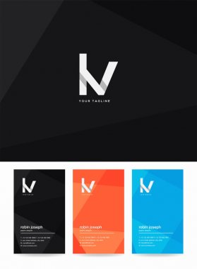 Letters logo Lv, template for business card