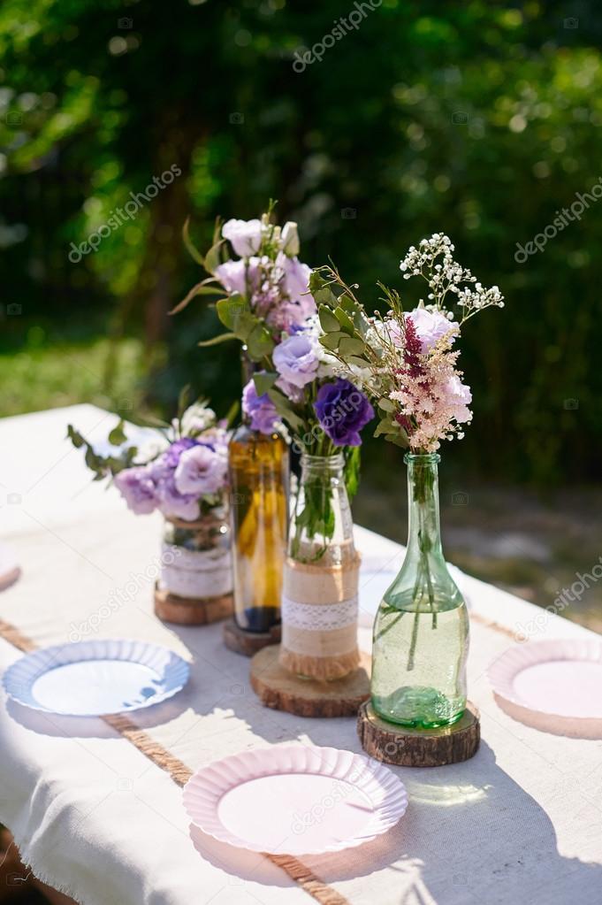 Dekoration Hochzeit Tisch Brautpaar Stockfoto Timonko