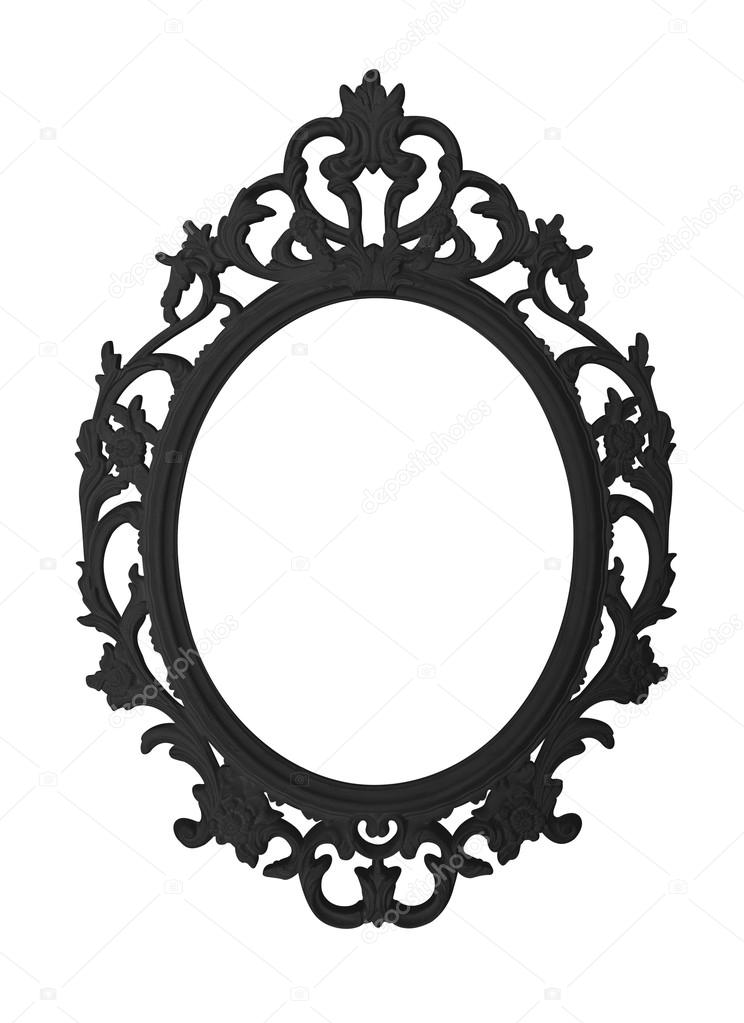 Vintage Black Round Frame Isolated On White Background And