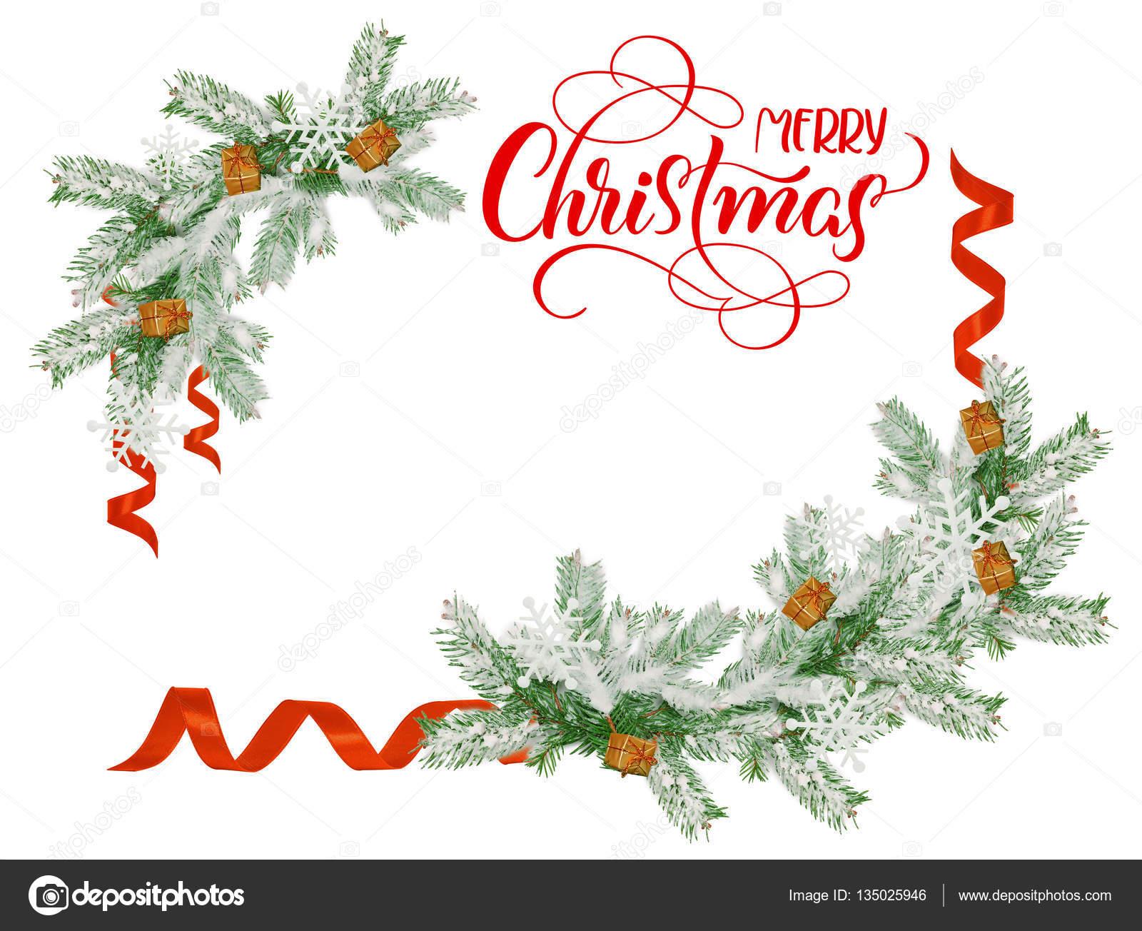 Frohe Weihnachten Rahmen.Rahmen Sie Für Tannenzweige Mit Frohe Weihnachten Und Ein Platz Für