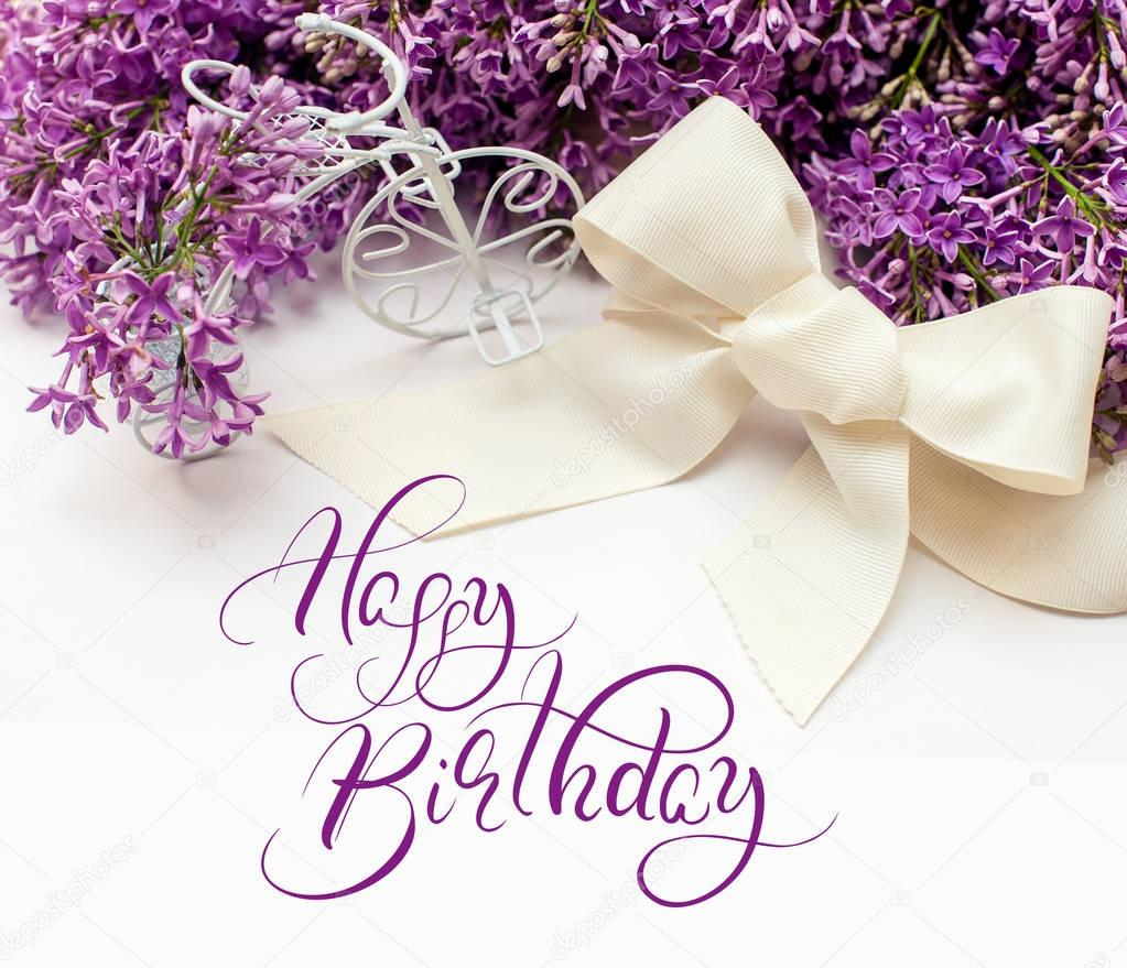 Illustration of bouquet from lilac lilies with text Happy Birthday. Calligraphy lettering