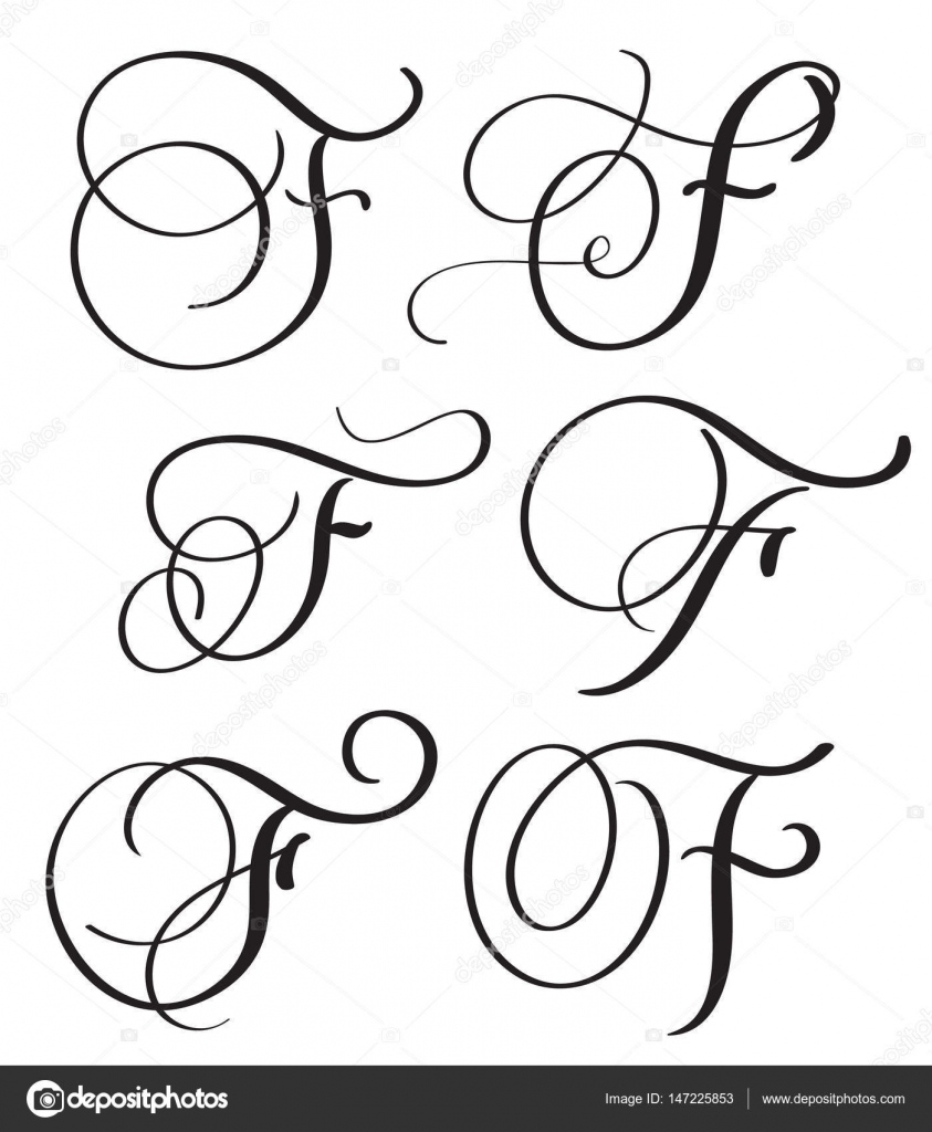 Set Of Art Calligraphy Letter F With Flourish Vintage Decorative Whorls Vector Illustration EPS10