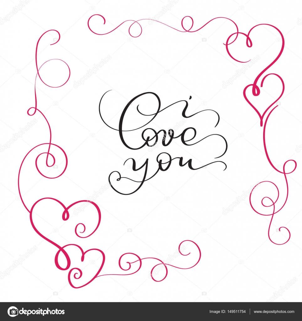 Ich liebe dich Text im roten Rahmen mit Herz — Stockvektor © timonko ...