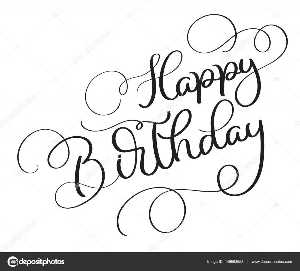 Happy Birthday Vektor Vintage Text Auf Weissem Hintergrund Kalligraphie Schrift Illustration Eps10 Stockillustration