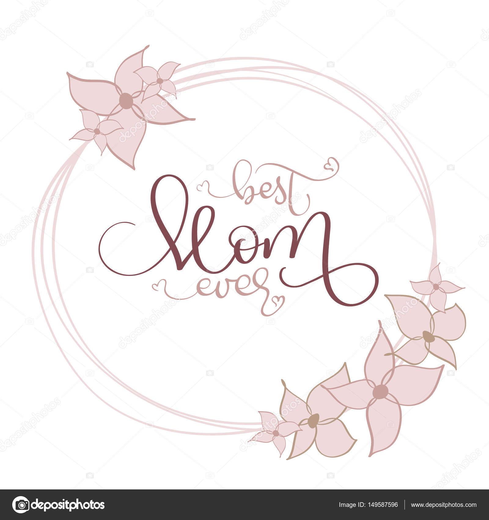 Beste Mutter jemals vector Vintage Text im Rahmen der Runde Blumen ...