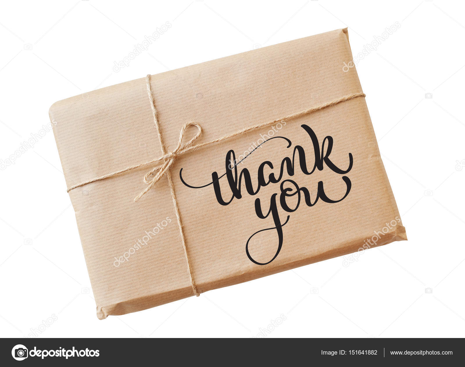 envelope kraft paper tied with string on a white background and text