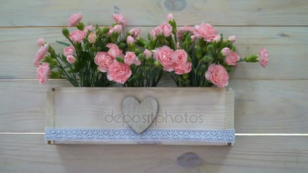 Wedding decor of flowers in a pot in rustic style
