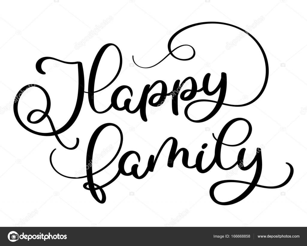 gl ckliche familie text auf wei em hintergrund handgezeichnete kalligraphie schriftzug vektor. Black Bedroom Furniture Sets. Home Design Ideas