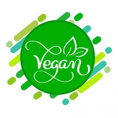 Vegan logo concept. Vector sign. Handwritten lettering for restaurant cafe