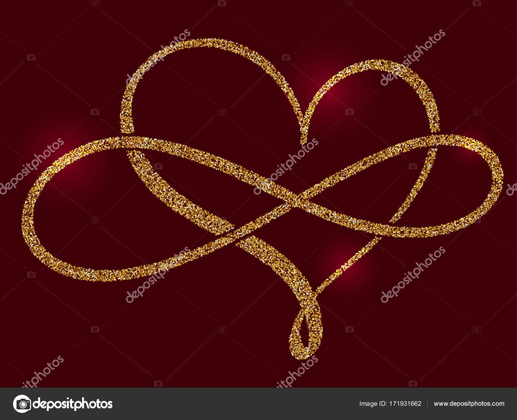 Golden calligraphic heart and a sign of infinity on a claret golden calligraphic heart and a sign of infinity on a claret background vector illustration eps10 buycottarizona Gallery